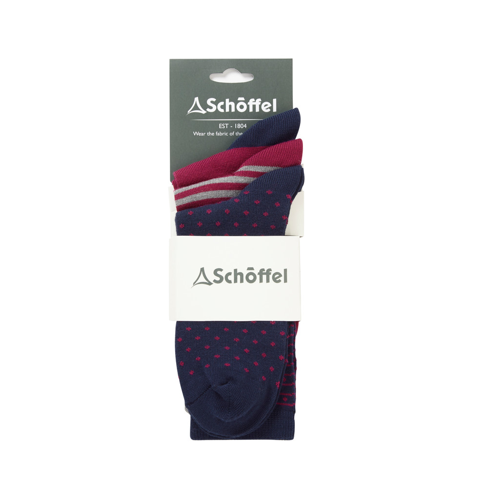 Schoffel Country Polzeath Sock Pack of 3 White Dot Mix