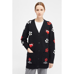 Chinti And Parker Hand Embroidered Milagro Cardigan Navy/Multi