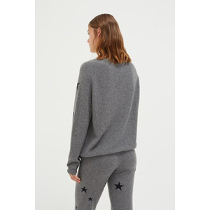 Chinti And Parker Slouchy Star Sweater Mid Grey