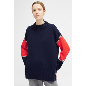 Chinti And Parker Chevron Stitch Sweater Navy/Flame/Cream