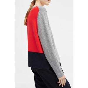 Ribbed Back Sweater Grey/Flame/Navy