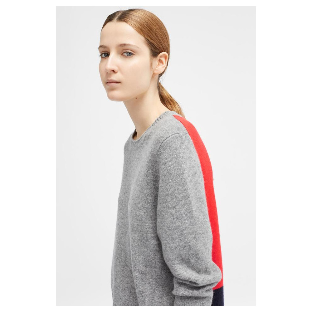 Chinti And Parker Ribbed Back Sweater Grey/Flame/Navy