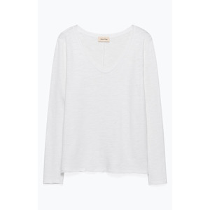 Sonoma V/Neck Raw Edge Top White