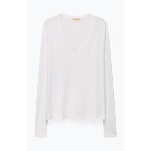 American Vintage Jacksonville L/S Scoop Nck Top in White