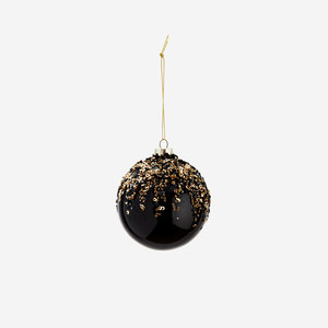 Hanging Glitter Ball Black/Gold/Silver