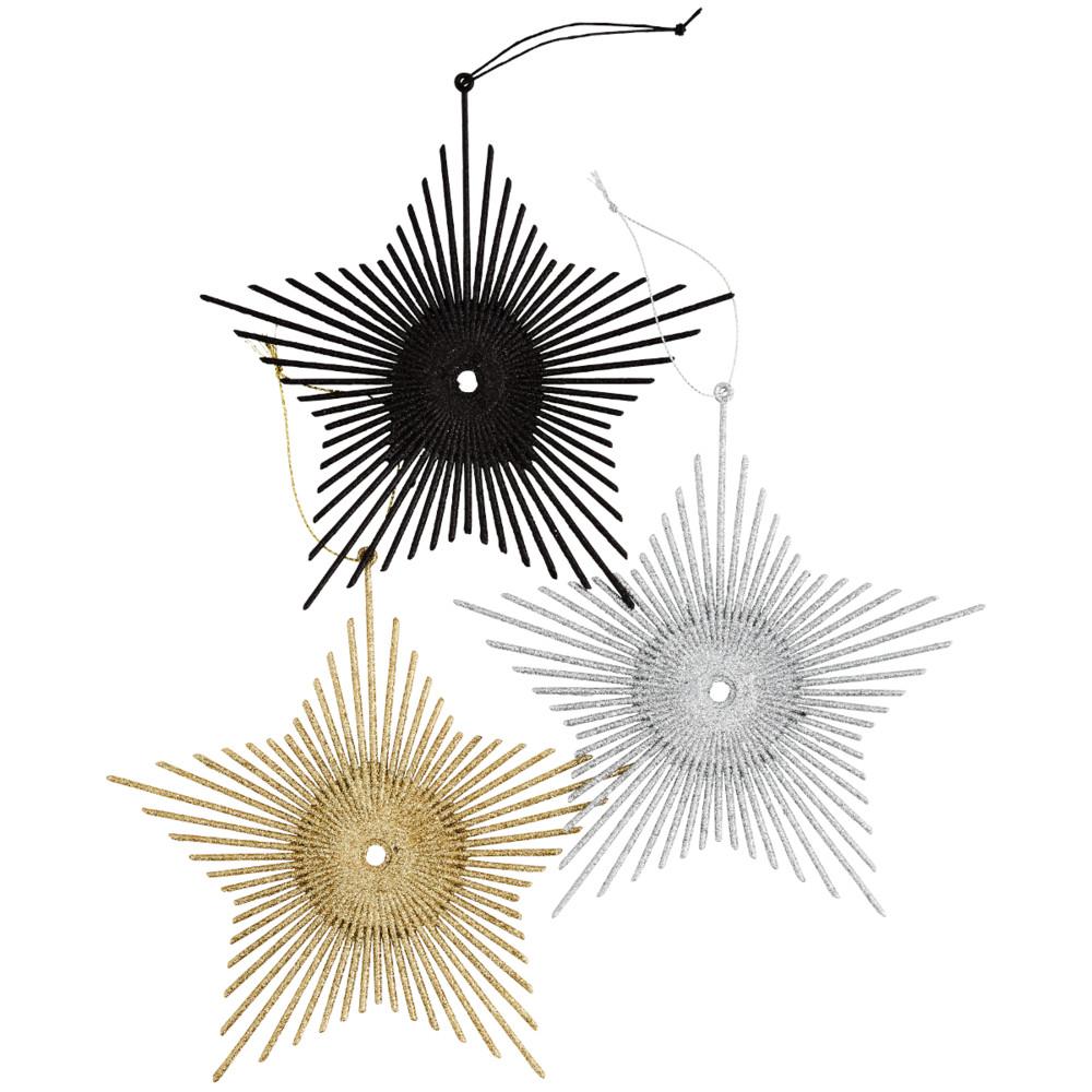 Madam Stoltz Hanging Glitter Stars Grey/Gold