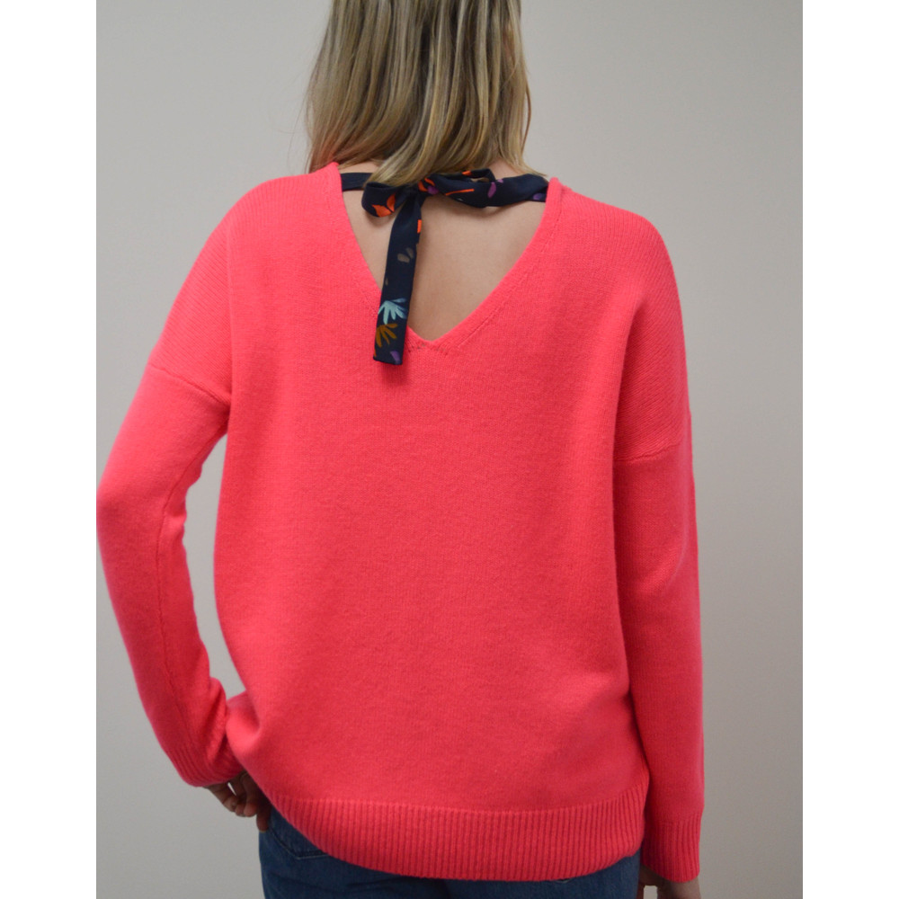 Cocoa Cashmere Ribbon Tie Back Jumper Bowie/Navy