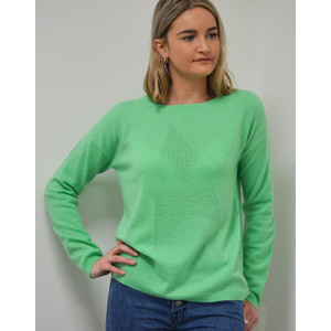 Cocoa Cashmere Lace Hole Star Jumper in Spearmint