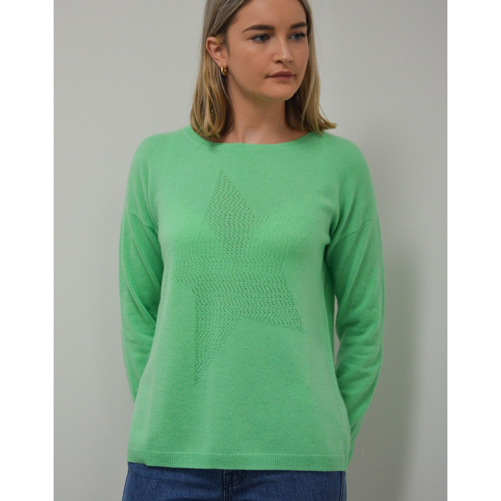Cocoa Cashmere Lace Hole Star Jumper Spearmint