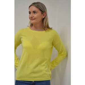 Cocoa Cashmere Lace Hole Star Jumper in Lemon Sherbert