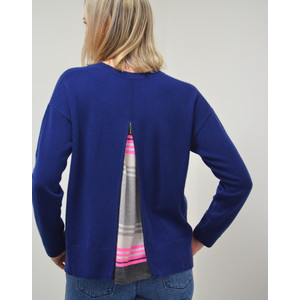Cocoa Cashmere Zip Back Rainbow Stripe Knit Midnight/Grey/Snow/Candy
