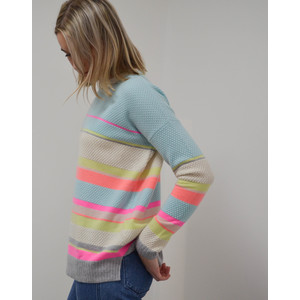 Cocoa Cashmere Lurex Stripe Jumper Grey/Shell/Candy/Cream