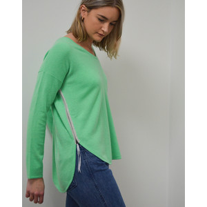 Cocoa Cashmere Side Zip Jumper Spearmint/Cloud