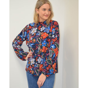 Saadiq Floral Long Sleeve Top With Slit Back Dark Blue/Firebrick/Slate Blue