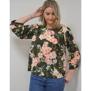 Saad Floral Boxy Top Green