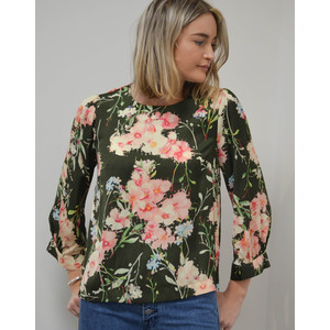 Essentiel Antwerp Saad Floral Boxy Top Green