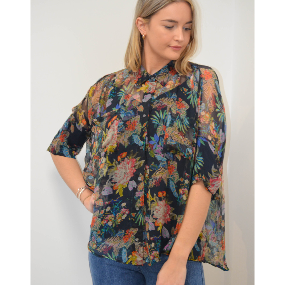 Essentiel Antwerp Shark Floral Boxy Blouse With Slip Dark Blue