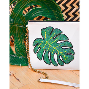 Monstera Chain Bag White