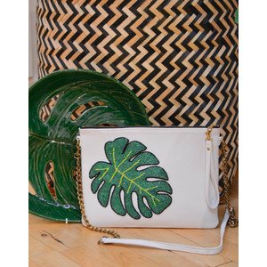 Tea & Tequila Monstera Chain Bag White