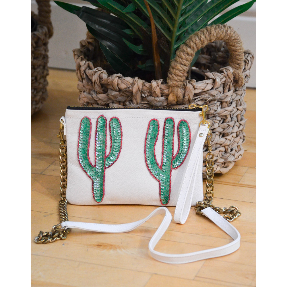 Tea & Tequila Cacti Chain Bag Leather White