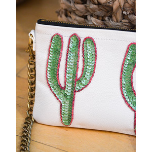 Cacti Chain Bag Leather White