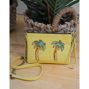 Palm Tree Chain Bag Leather Yellow