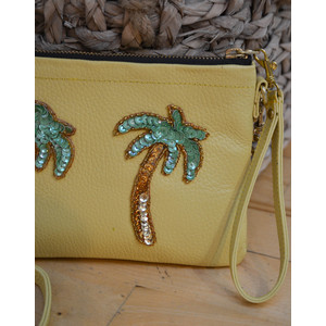 Tea & Tequila Palm Tree Chain Bag Leather Yellow