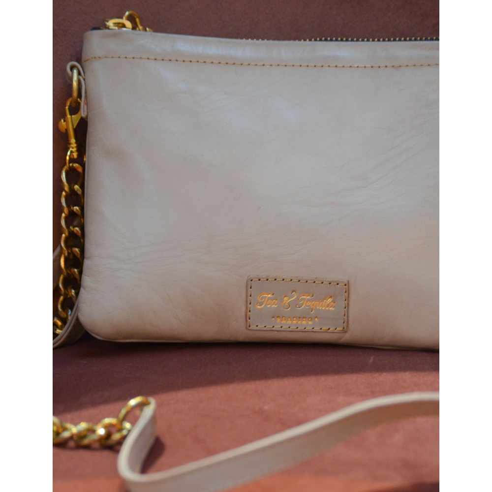 Tea & Tequila Flamingo Chain Bag Leather Coffee