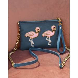 Flamingo Chain Bag Leather Navy