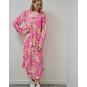 Sza Long Sleeve Floral Midi Dress Pink