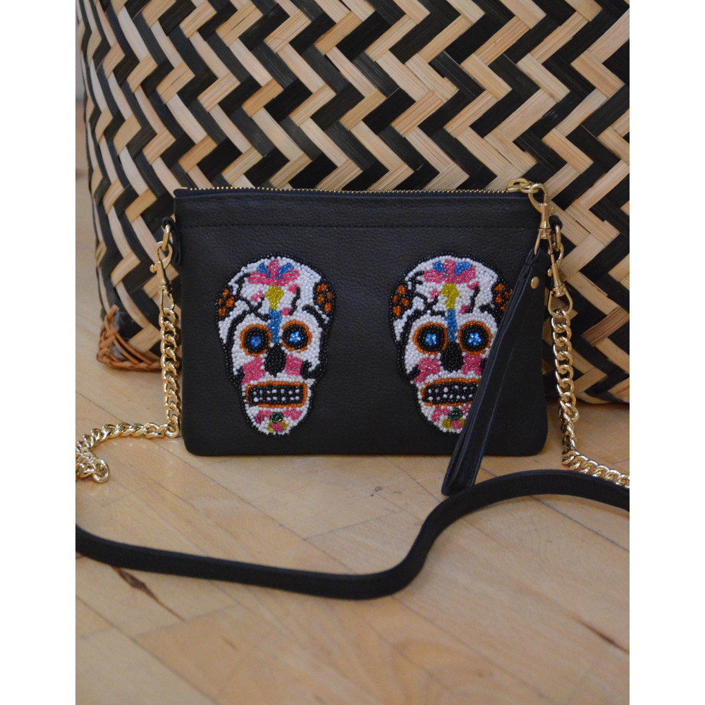 Tea & Tequila 2 Sugar Skull Crossbody Black