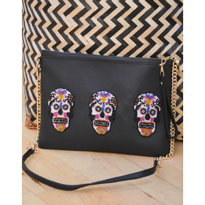 3 Sugar Skull Crossbody Black