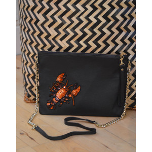 Lobster Chain Bag Leather Black