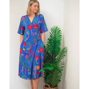 Palm Tree Print Dress Blue/Multi