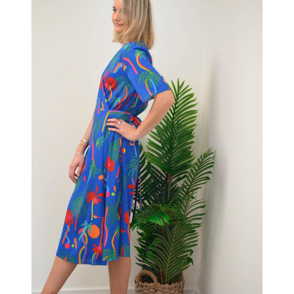 Paul Smith Womens Palm Tree Print Dress Blue/Multi