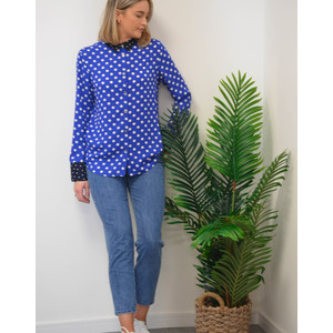 Spotty Contrast Trim Shirt Royal Blue/White/Navy