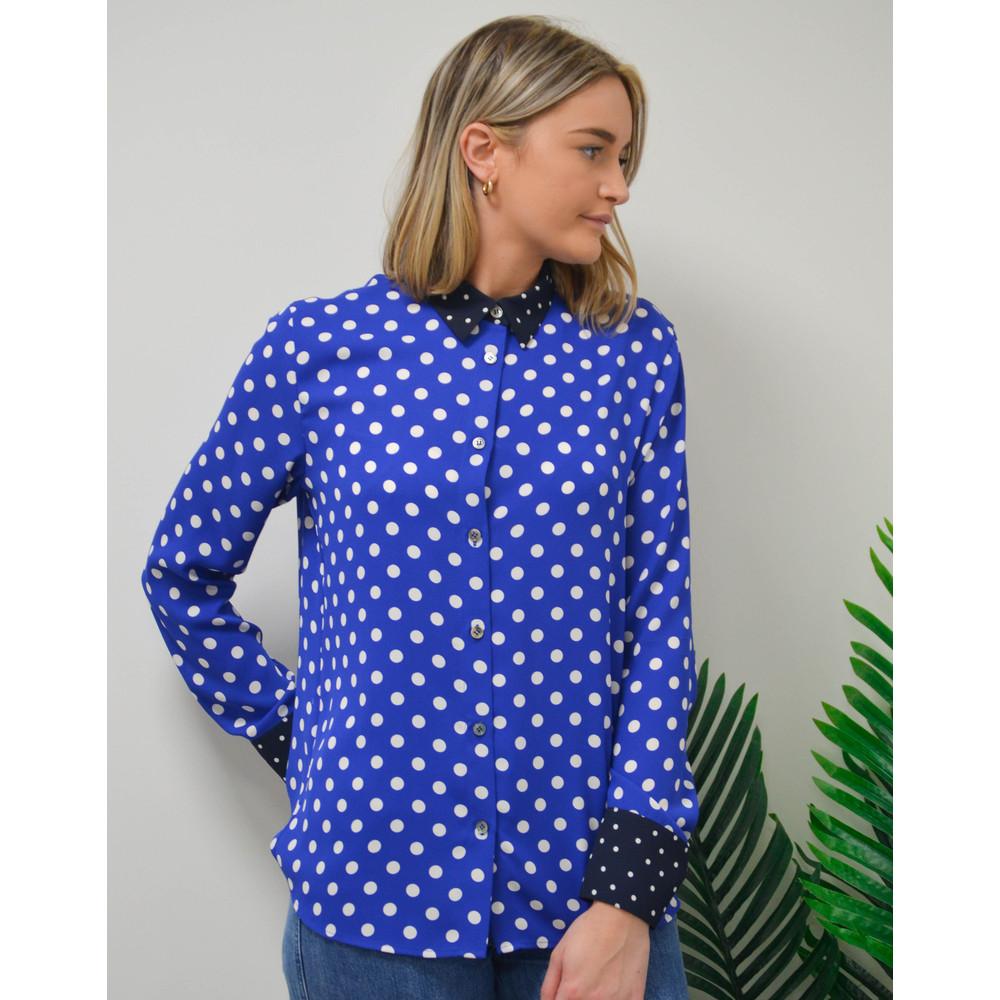 Paul Smith Womens Spotty Contrast Trim Shirt Royal Blue/White/Navy