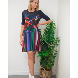 Floral Stripe Photo Print Dress Black/Multi