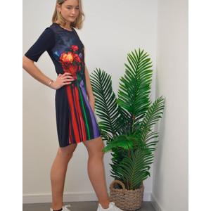 Paul Smith Womens Floral Stripe Photo Print Dress Black/Multi