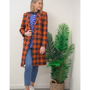 Oversized Tweed Epsom Coat Navy/Orange
