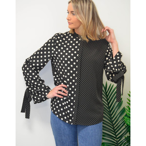 Polka Dots Shirt W/Tie Cuffs Black/White