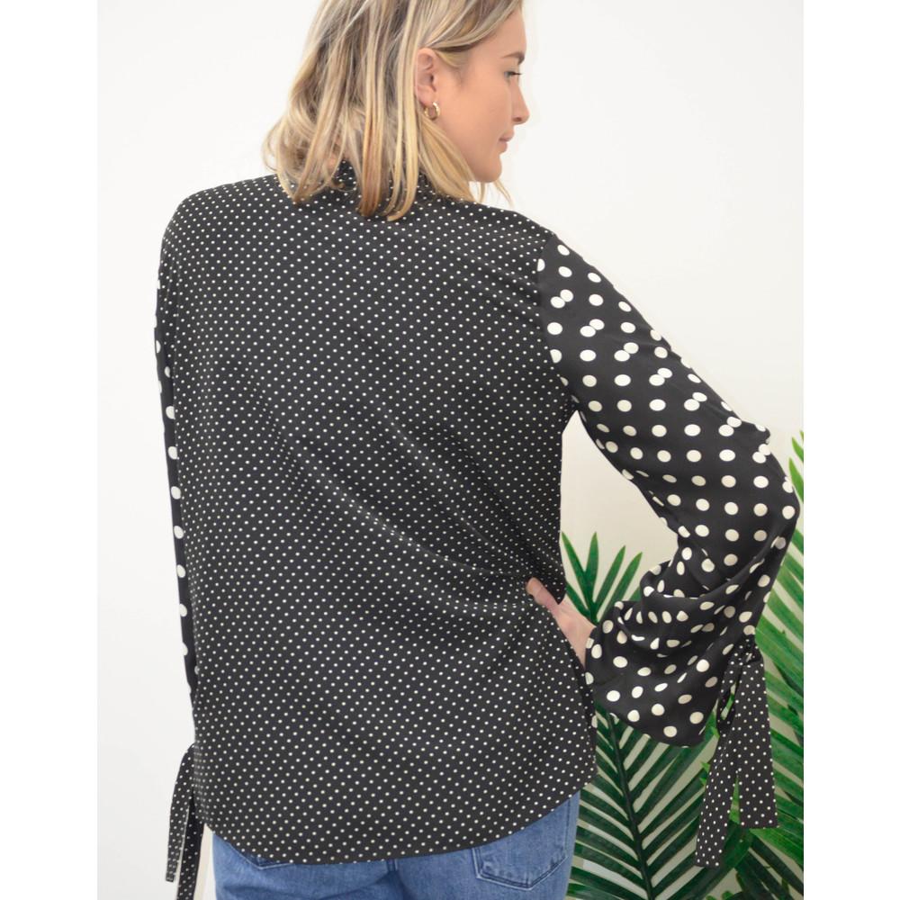 Paul Smith Womens Polka Dots Shirt W/Tie Cuffs Black/White