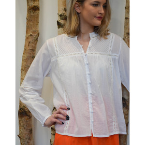 Velvet Yadira Ladder Detail Blouse White