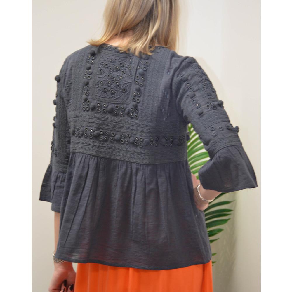 Velvet Hanae Emb Ang Jacket Charcoal