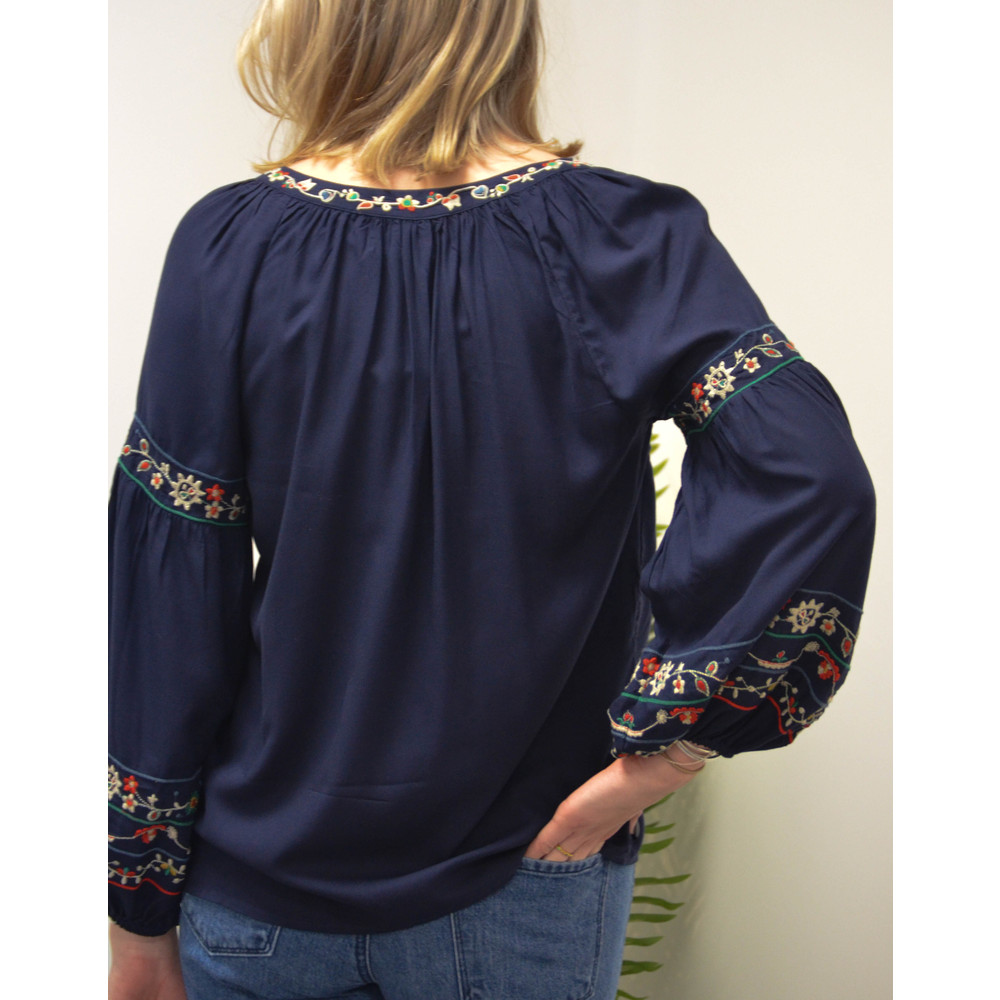 Velvet Carina Balloon Sleeve Embroidered Blouse Navy