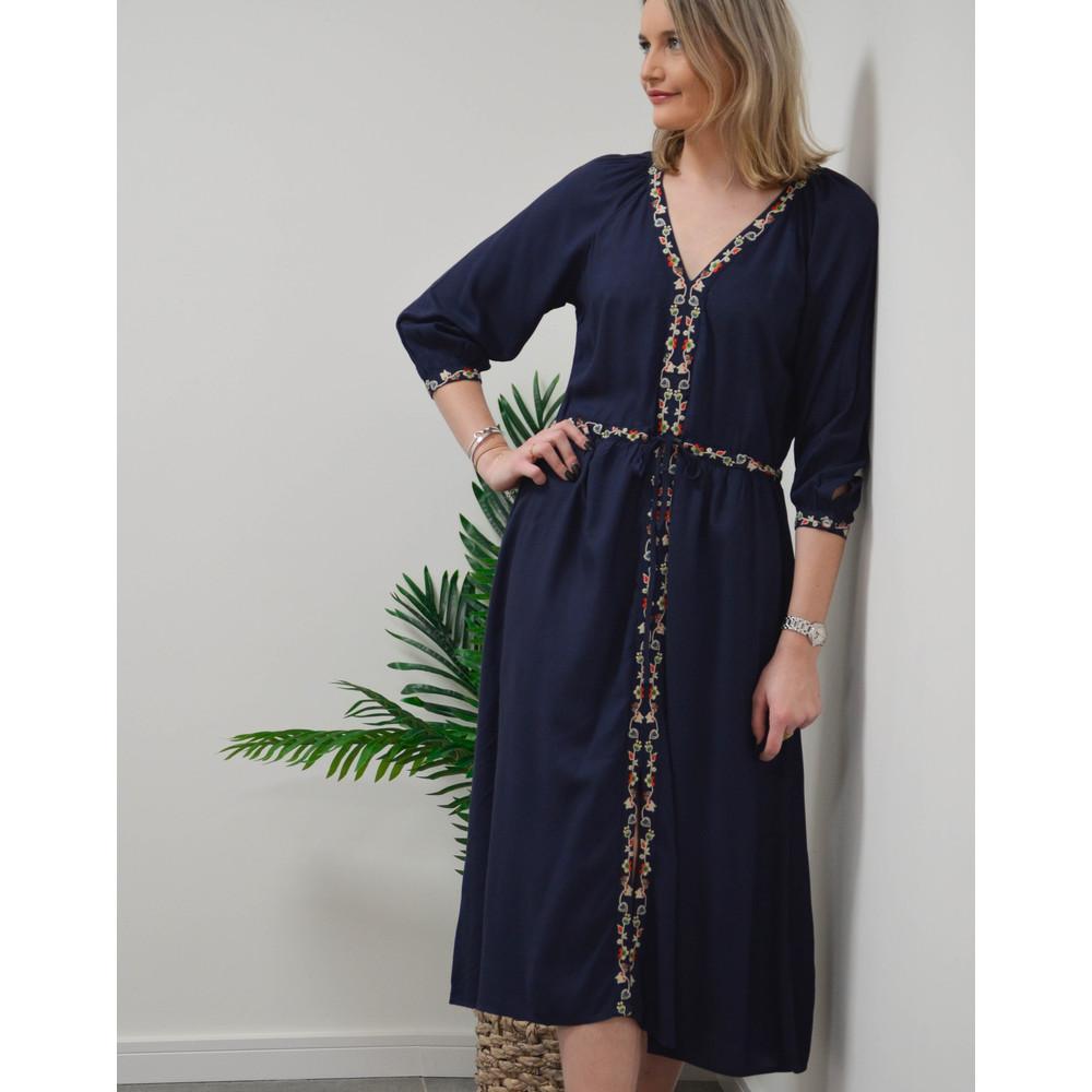 Velvet Lydia Embroidered Dress Navy