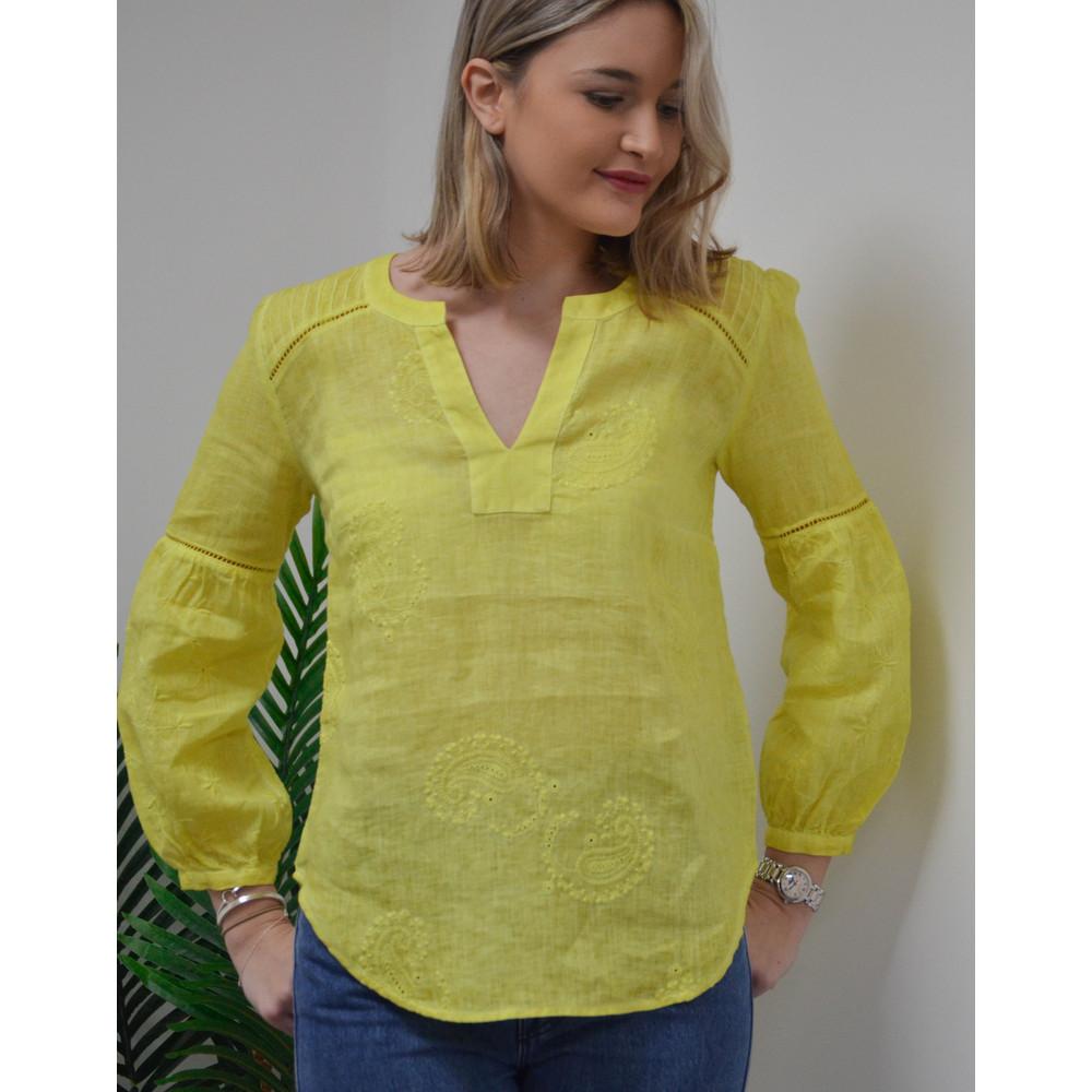 120% Lino Paisley Embroidered Top Lemonade