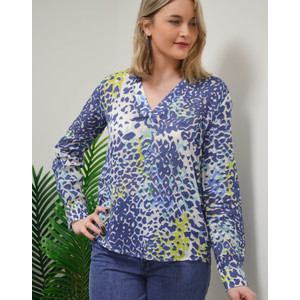 Long Sleeve V Neck Animal Print Top Blue/White/Lime
