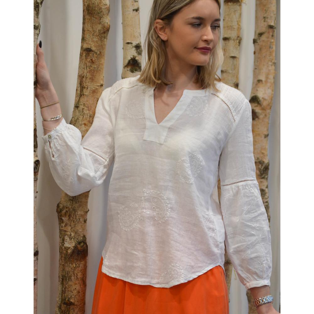 120% Lino Paisley Emb L/S Top White