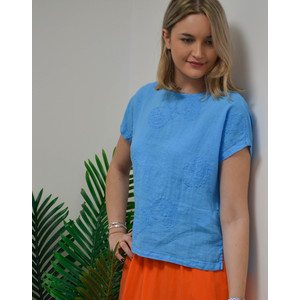 120% Lino Embroidered Paisley T Shirt in Hawaii